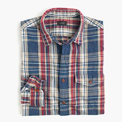 Heathered slub cotton shirt in blue plaid