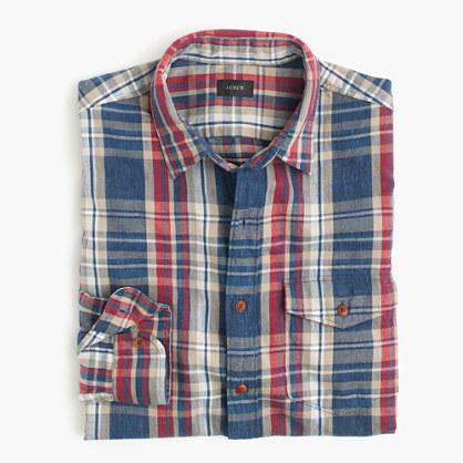 Tall heathered slub cotton shirt in blue plaid