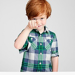 Boys' crinkle poplin shirt in green-navy plaid