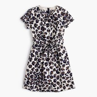 Girls' tie-front painted leopard-print dress