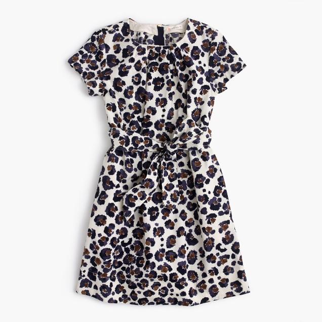 Girls' tie-front painted leopard-print dress