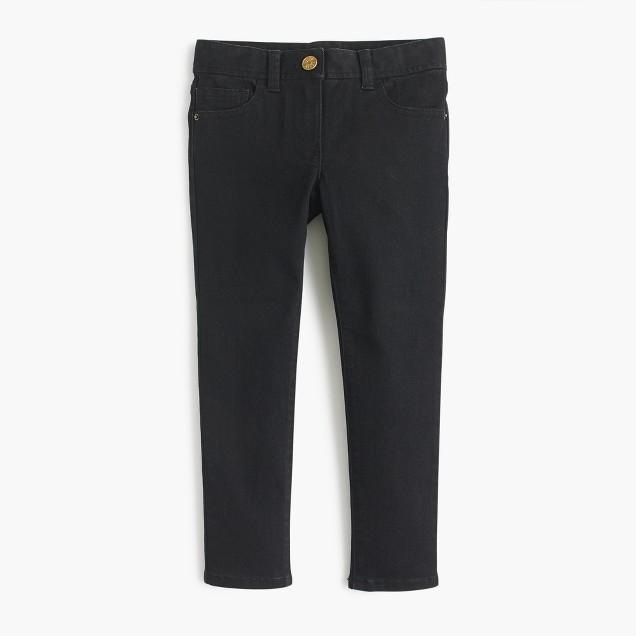 Girls' stretch toothpick jean in black