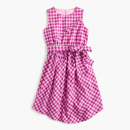 Girls' tie-front dress in violet gingham