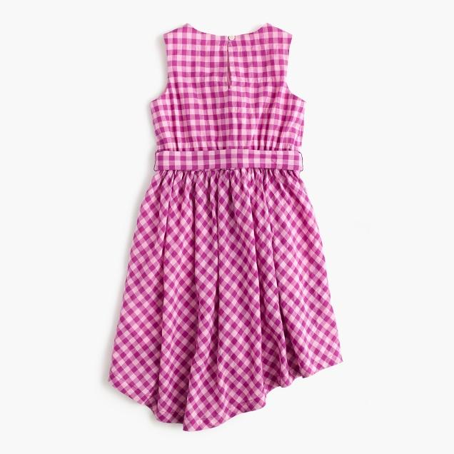 Girls' tie-front dress in violet gingham