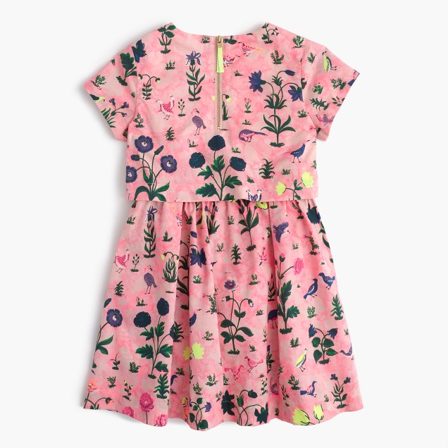 Girls' tiered dress in bird garden