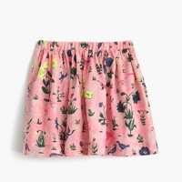 Girls' pull-on skirt in bird garden