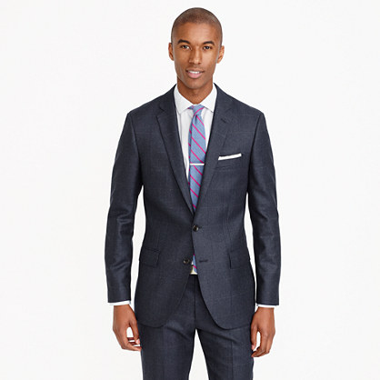 Ludlow suit jacket in Italian windowpane wool