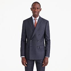 Ludlow double-breasted suit jacket in Italian windowpane wool