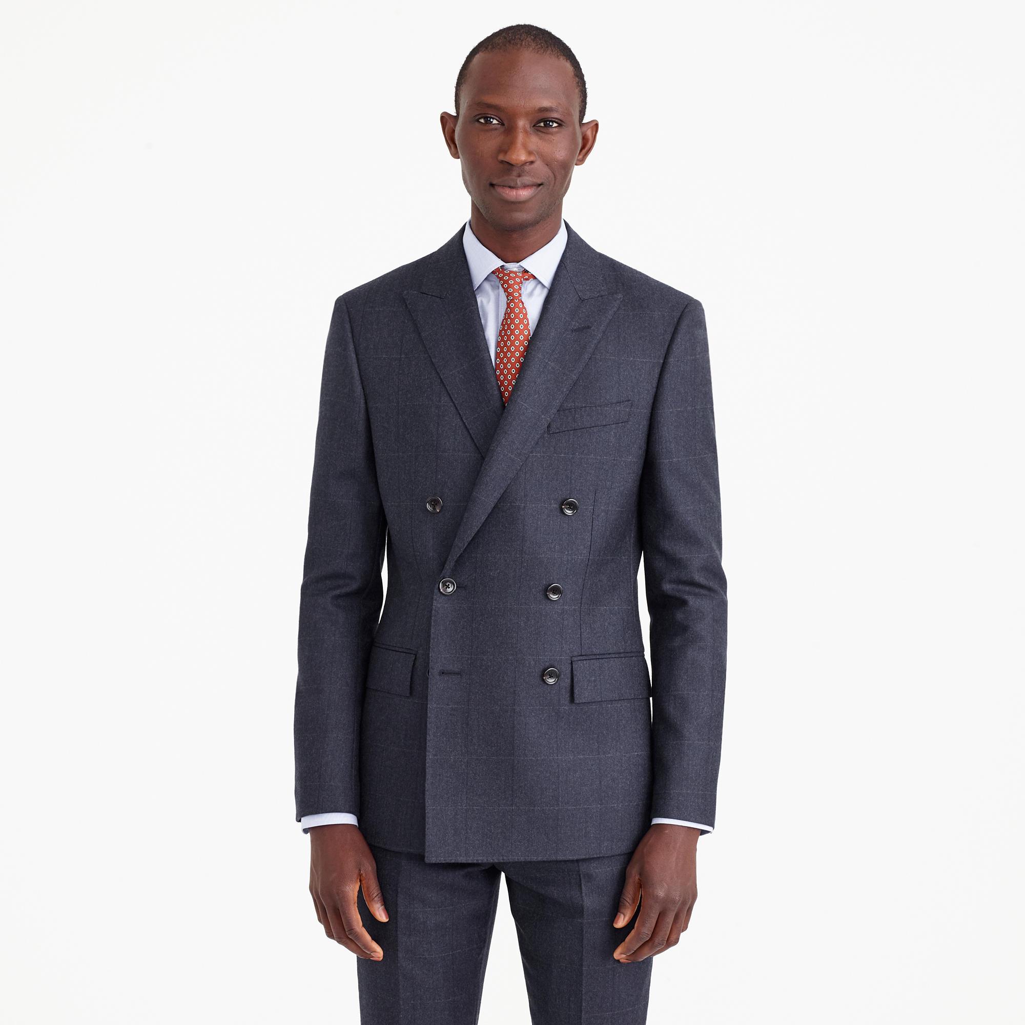 Ludlow Double-Breasted Suit Jacket In Italian Windowpane Wool ...