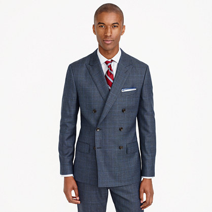 Ludlow double-breasted suit jacket in glen plaid American wool