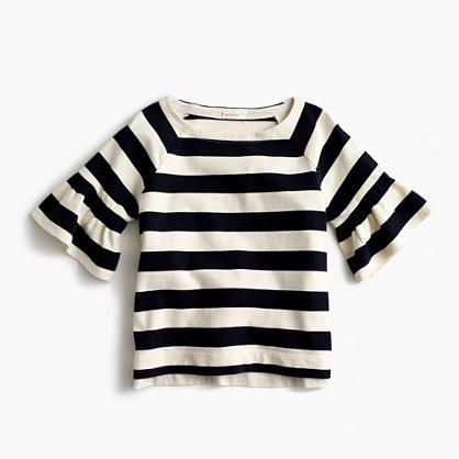 Girls' flutter-sleeve striped T-shirt