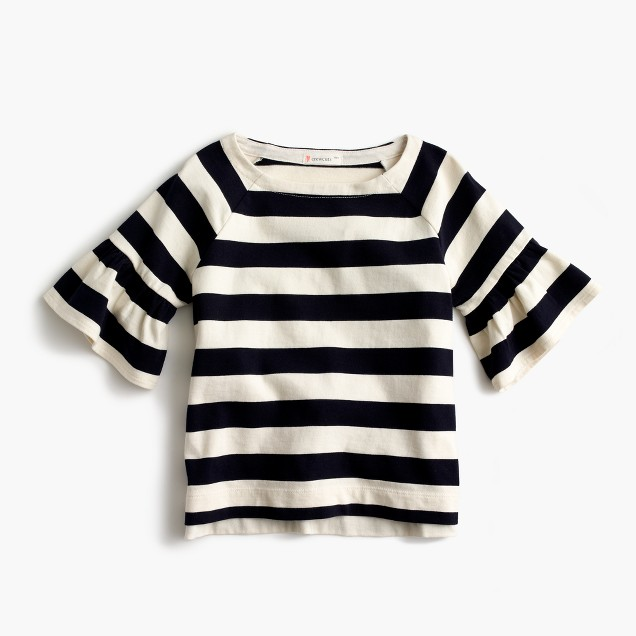 Girls' flutter-sleeve striped T-shirt