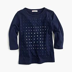Girls' embellished three-quarter sleeve T-shirt