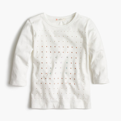 Girls' embellished three-quarter sleeve T-shirt