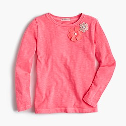 Girls' embellished double flower T-shirt