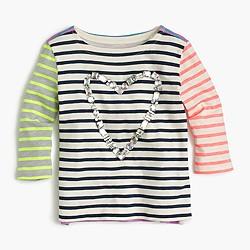 Girls' gem heart striped combo T-shirt