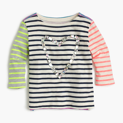 Girls' gem heart striped combo T-shirt