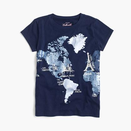 Girls' glitter world map T-shirt