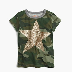 Girls' sequin star camo T-shirt