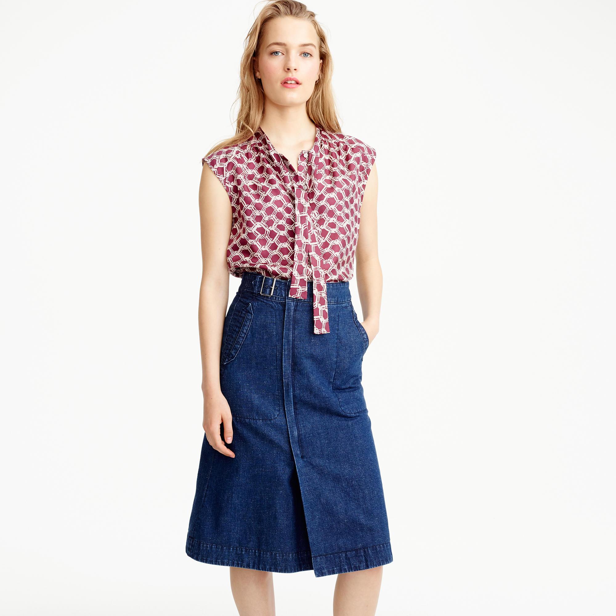 Belted A-line skirt in denim : Women denim | J.Crew