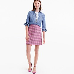 Petite mini skirt in pink houndstooth