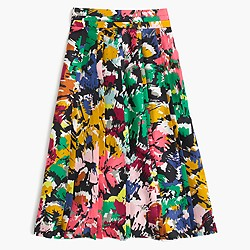 Double-pleated midi skirt in colorful brushstroke print