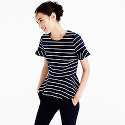 Structured peplum top in stripe