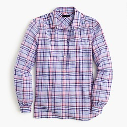 Tall gathered popover shirt in lilac plaid