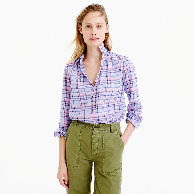 Gathered popover shirt in lilac plaid