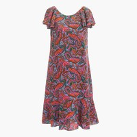 Tall ruffled dress in vibrant paisley
