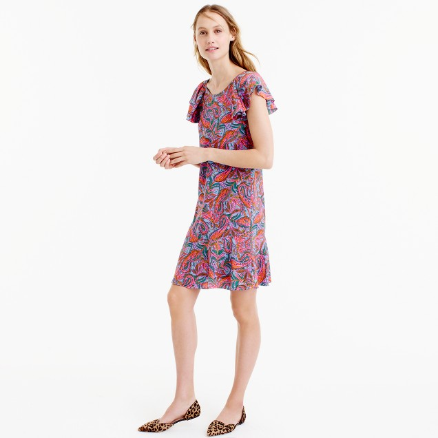 Petite ruffled dress in vibrant paisley