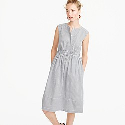 Cap-sleeve dress in shirting stripe
