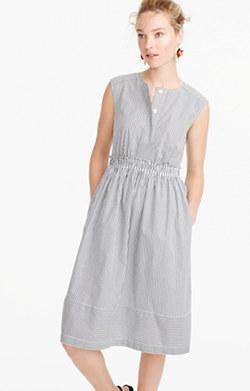 Cap-sleeve dress in shirting stripe