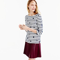 Boatneck T-shirt in dotted stripes