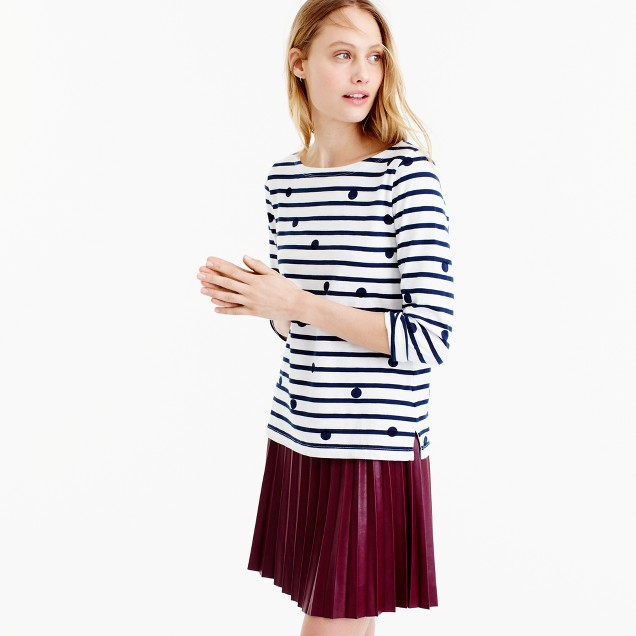J.Crew for NET-A-PORTER® boatneck T-shirt in dotted stripes
