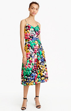 Spaghetti-strap dress in colorful brushstroke print