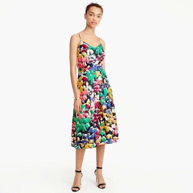 Spaghetti-strap dress in colorful brushstroke print