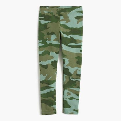 Girls' everyday leggings in green camo