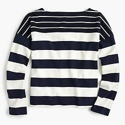 Stripe-blocked boatneck T-shirt