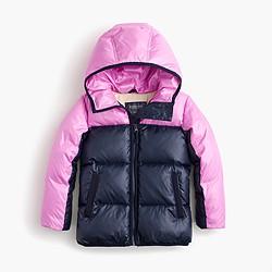 Girls' colorblock marshmallow puffer jacket in neon
