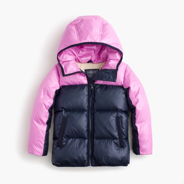 Girls' colorblock marshmallow puffer jacket in neon