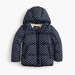 Girls' polka-dot marshmallow puffer jacket