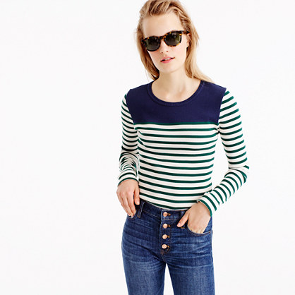 Placed-stripe rib T-shirt