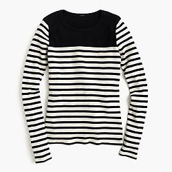 Placed-stripe rib T-shirt