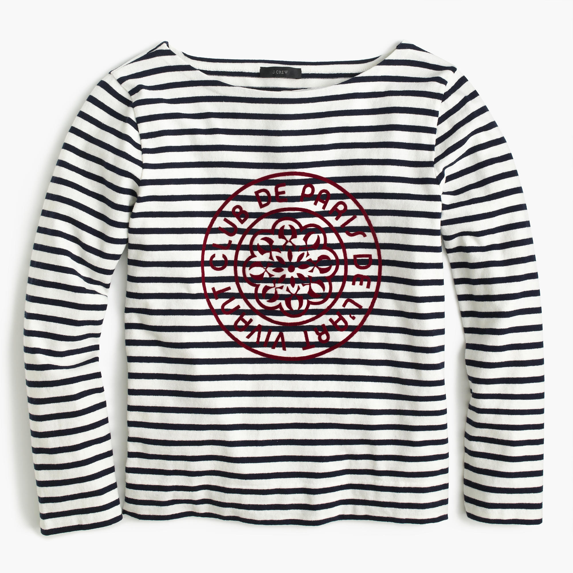 striped boatneck t shirt with french logo women 39 s tees. Black Bedroom Furniture Sets. Home Design Ideas