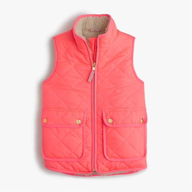 Girls' sherpa-lined puffer vest