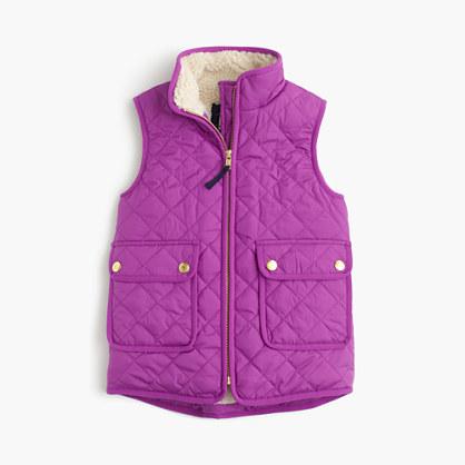 Girls' sherpa-lined puffer vest