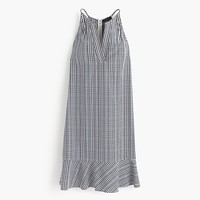 Flutter-hem dress in plaid