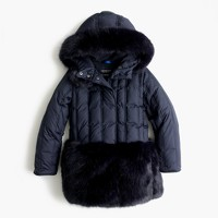 Girls' faux-fur puffer parka