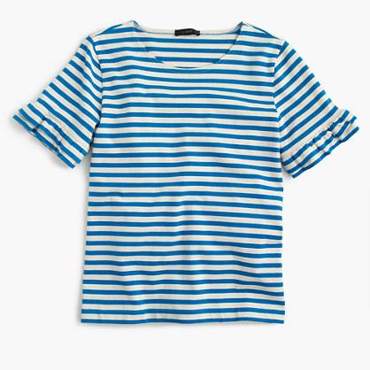Ruffle-sleeve T-shirt in stripe